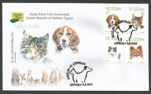 North Cyprus Stamps SG 2015 (f) Cats and Dogs -Official FDC