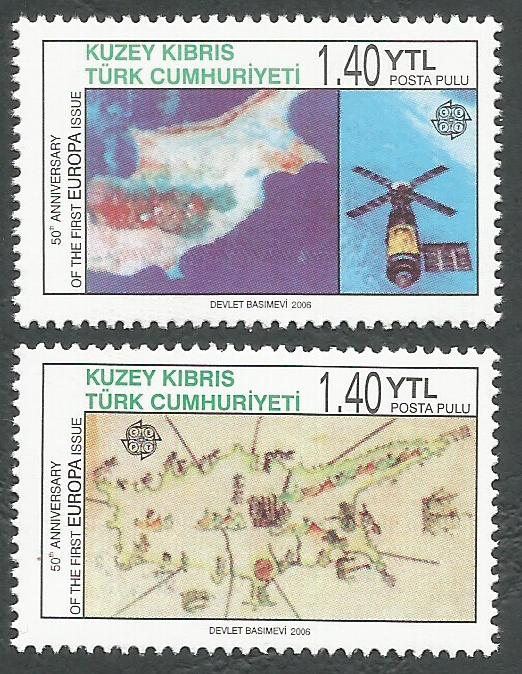 North Cyprus Stamps SG 0620-21 2006 Europa Anniversary - MINT