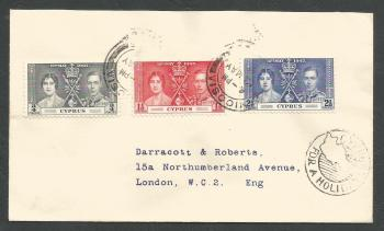Cyprus Stamps SG 148-50 1937 Coronation - First Day Cover (k307)