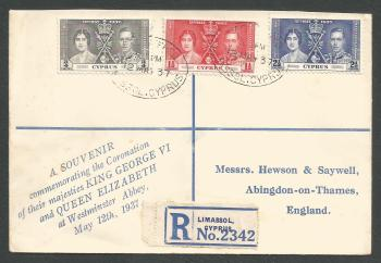 Cyprus Stamps SG 148-50 1937 Coronation - First Day Cover (k308)