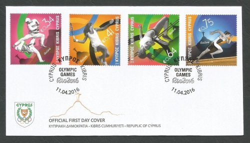 Cyprus Stamps SG 2016 (b) Rio Brazil Olympic Games - Official FDC