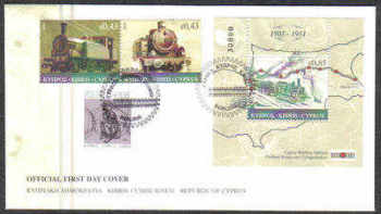 Cyprus Stamps SG 1222-23 and MS 1224 2010 The Cyprus Railway - Unofficial FDC (c842)