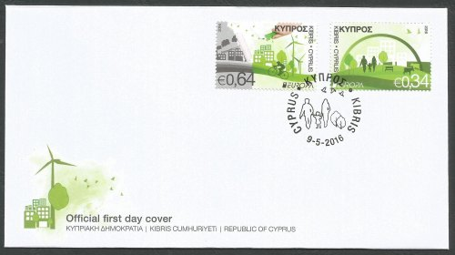 Cyprus Stamps SG 2016 (c) Europa Think Green - Official FDC