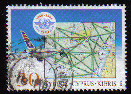 Cyprus Stamps SG 859 1994 50th Anniversary of the Civil Aviation organizati