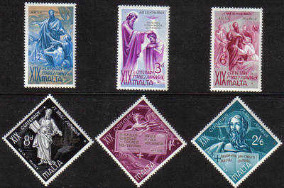 Malta Stamps SG 0295-300 1960 The shipwreck of St Paul - MINT