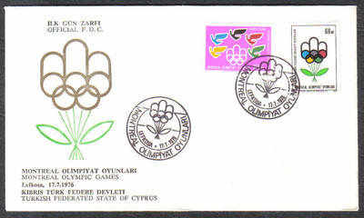 North Cyprus Stamps SG 34-35 1976 Montreal Olympic Games - Official FDC