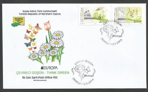 North Cyprus Stamps SG 2016 (c) Europa Think Green - Official FDC
