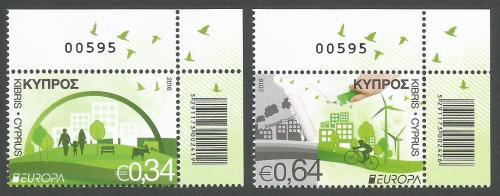 Cyprus Stamps SG 2016 (c) Europa Think Green - Control numbers MINT
