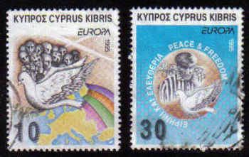 Cyprus Stamps SG 883-84 1995 Europa Peace and Freedom - USED (c913)