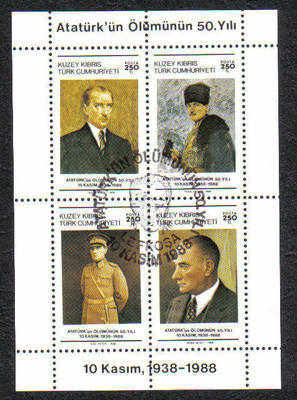 North Cyprus Stamps SG 246 MS 1988 50th Anniversary of the death of Kemal A