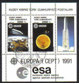 North Cyprus Stamps SG 306 MS 1991 Europa Space - USED (d005)
