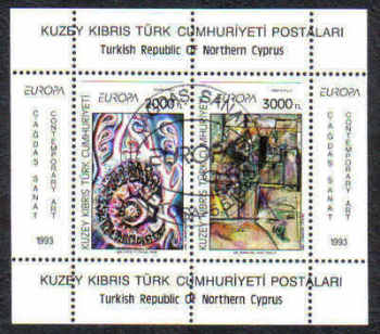 North Cyprus Stamps SG 353 MS 1993 Europa Art Contemporary - USED (d008)