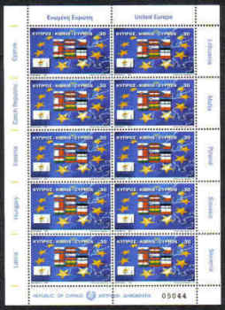 Cyprus Stamps SG 1071 2004 EU Admission flags - Full Sheet MINT (d010)