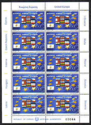 Cyprus Stamps SG 1071 2004 EU Admission flags Full Sheet - MINT (d010)