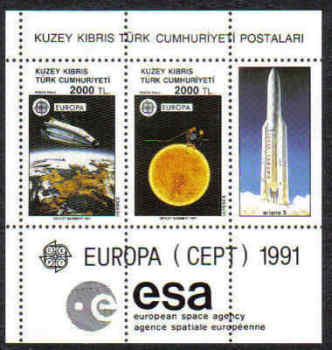 North Cyprus Stamps SG 306 MS 1991 Europa Space - MINT