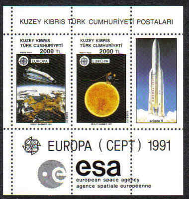North Cyprus Stamps SG 306 1991 Europa Space - MINT