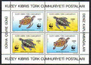 North Cyprus Stamps SG 335 MS 1992 Turtles - MINT