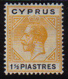 Cyprus Stamps SG 091 1922 One and Half Piastres King George V - MH