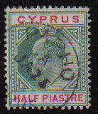 Cyprus Stamps SG 050 1902 Half Piastre - USED (d053)