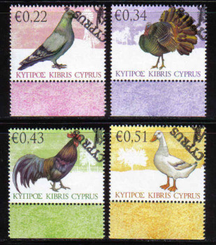 Cyprus Stamps SG 1194-97 2009 Domestic Fowl of Cyprus - USED (b458)