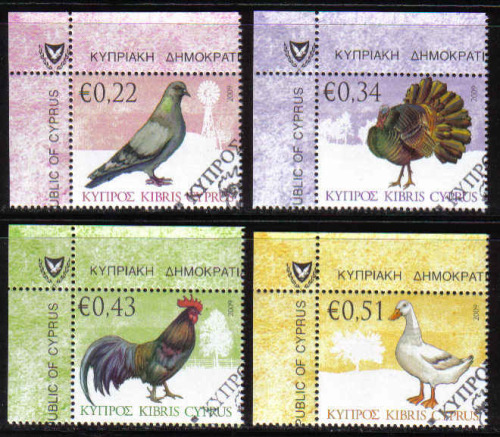 Cyprus Stamps SG 1194-97 2009 Domestic Fowl of Cyprus - CTO USED (b459)