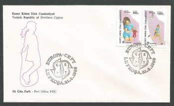 North Cyprus Stamps SG 251a-52a 1989 Europa Childrens games - Booklet Pair Official FDC