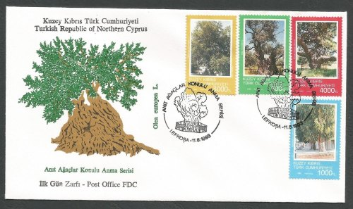 North Cyprus Stamps SG 354-57 1993 Trees - Official FDC