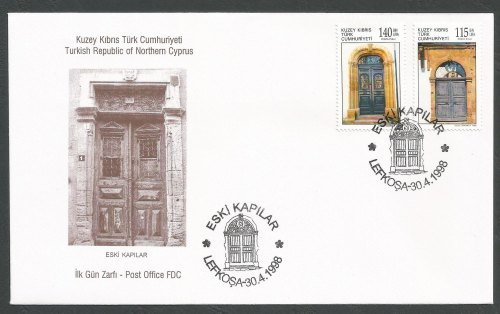 North Cyprus Stamps SG 465-66 1998 Old Doors - Official FDC