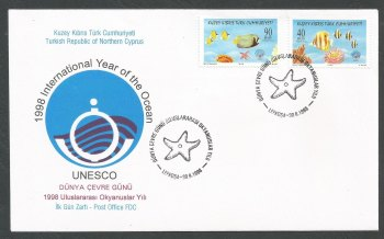 North Cyprus Stamps SG 469-70 1998 Year of the Ocean - Official FDC