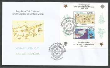 North Cyprus Stamps SG 622 MS 2006 50th Anniversary of the first Europa stamp (Imperforated) - Official FDC