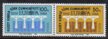 North Cyprus Stamps SG 148-49 1984 Europa Bridge - Position A MINT