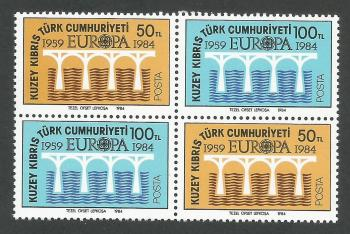 North Cyprus Stamps SG 148-49 1984 Europa Bridge - Both Pairs MINT