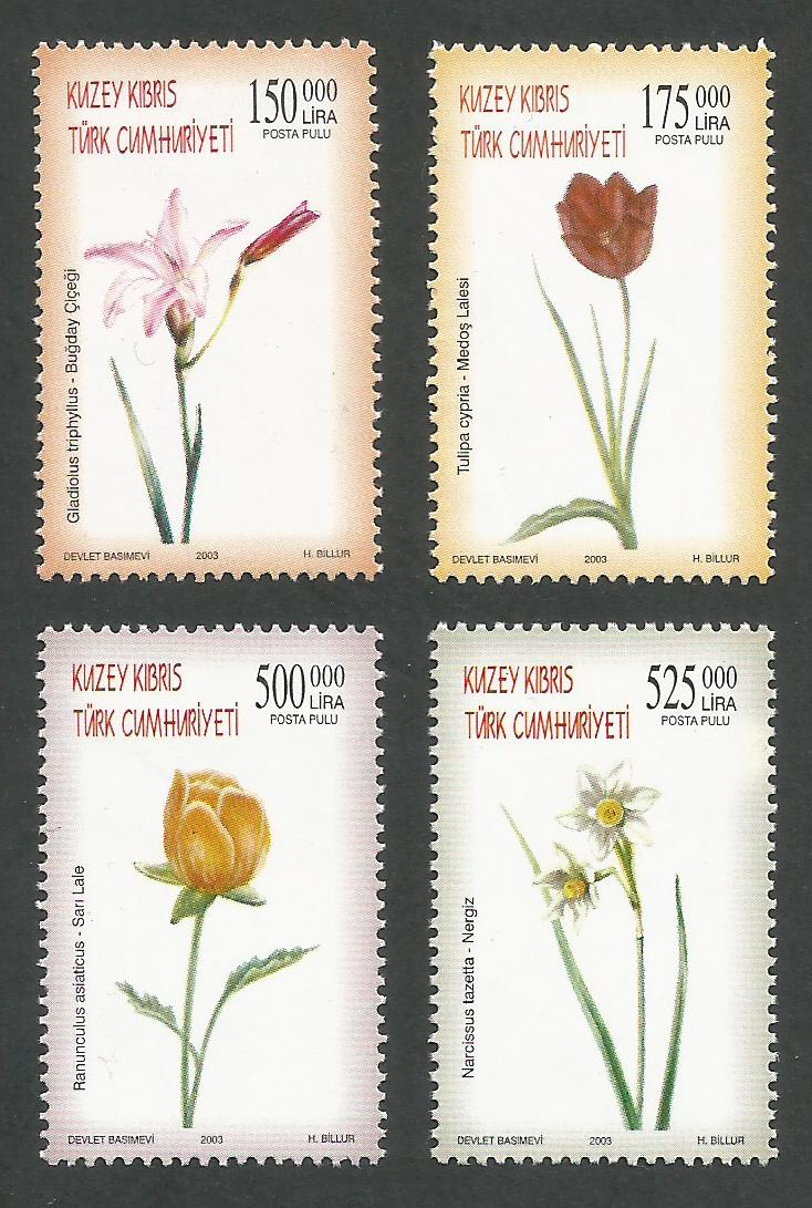 North Cyprus Stamps SG 578-81 2003 Flowers - MINT
