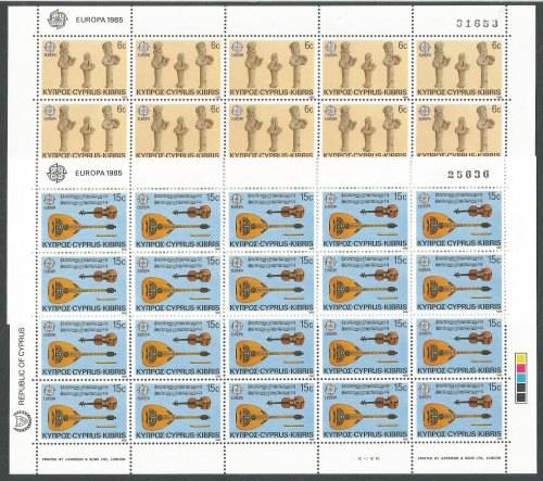 Cyprus Stamps SG 663-64 1985 Europa Composers and Musicians - Full Sheet MI