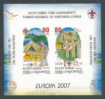 North Cyprus Stamps SG 0653 MS 2007 Centenary of Scouting - Imperferate MINT