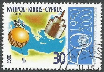 Cyprus Stamps SG 0999 2000 50th Anniversary of the World Meteorological organization - USED (k381)