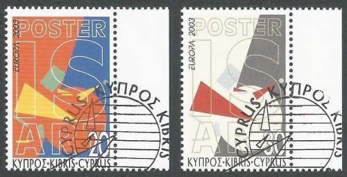 Cyprus Stamps SG 1051-52 2003 Europa Poster Art - CTO USED (k398)
