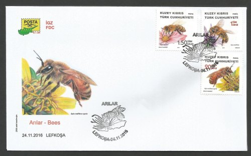 North Cyprus Stamps SG 2016 (f) Bees - Official FDC