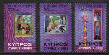Cyprus Stamps SG 443-45 1975 Europa paintings - (seperated) MINT (b490)