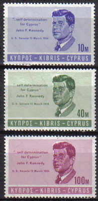 Cyprus Stamps SG 256-58 1965 John F Kennedy - MLH