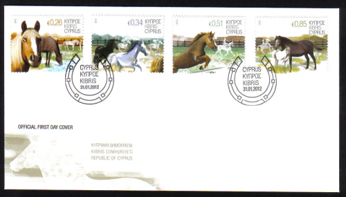 Cyprus Stamps SG 2012 (a) Horses - Official FDC