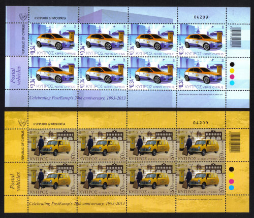 Cyprus Stamps SG 2013 (e) Europa issue Postal Vehicles  - Full sheets MINT