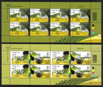 Cyprus Stamps SG 1312-14 2014 The Olive tree and its products - Full sheets MINT
