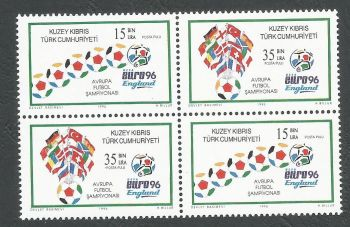 North Cyprus Stamps SG 430-31 1996 Euro 96 Football England  - Se-tenant Pairs MINT