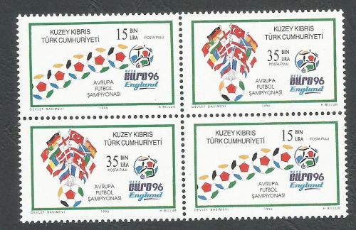 North Cyprus Stamps SG 430-31 1996 Euro 96 Football England  - Se-tenant Pa