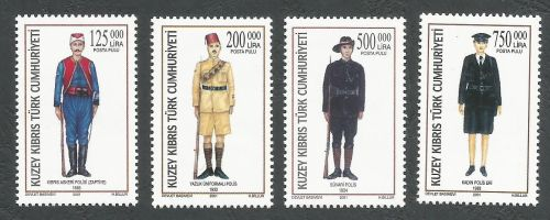 North Cyprus Stamps SG 534-37 2001 Police Uniforms - MINT