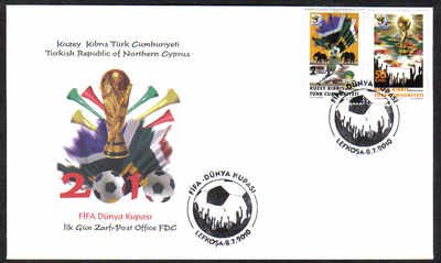 North Cyprus Stamps SG 0708-09 2010 Fifa World Cup South Africa - Official