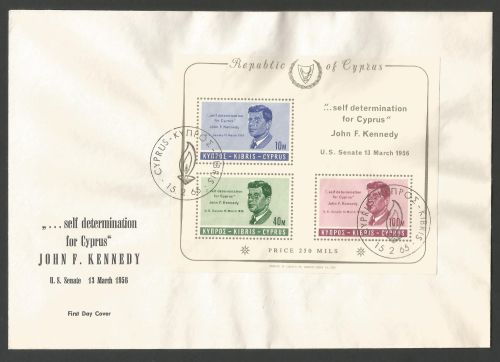 Cyprus Stamps SG 258a MS 1965 John F Kennedy - Unofficial FDC (k428)