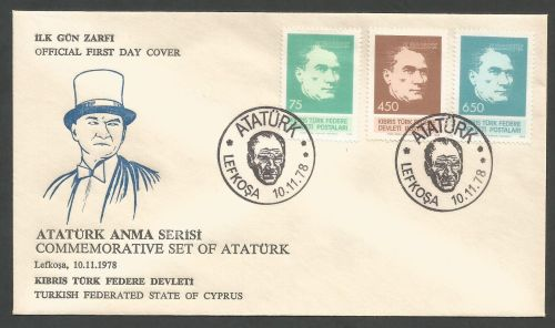 North Cyprus Stamps SG 71-73 1978 Ataturk - Official FDC (k238) *CLEARANCE*