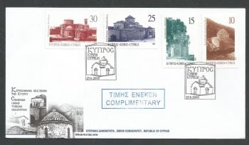 Cyprus Stamps SG 1000-03 2000 Greek Orthodox Churches - Official FDC Marked Complimentary (k424)